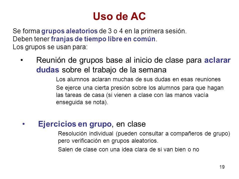 Uso de AC Se forma grupos aleatorios de 3 o 4 en la primera sesión. Deben tener franjas de tiempo libre en común.
