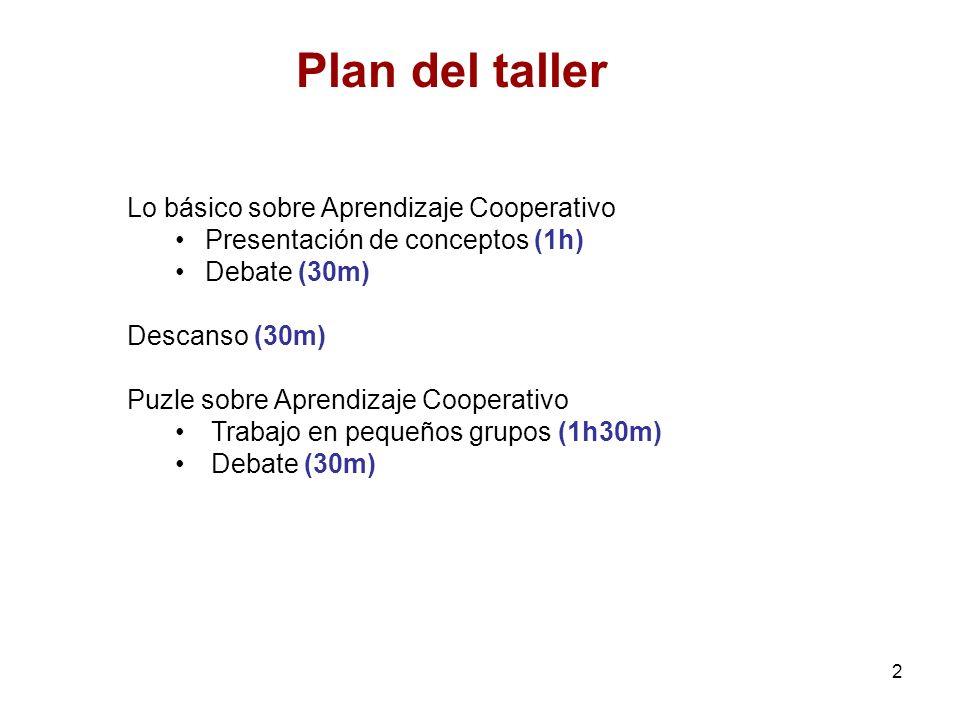 Plan del taller Lo básico sobre Aprendizaje Cooperativo