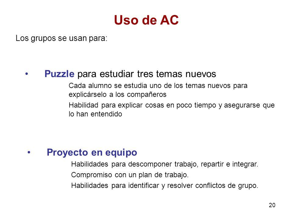 Uso de AC Puzzle para estudiar tres temas nuevos Proyecto en equipo