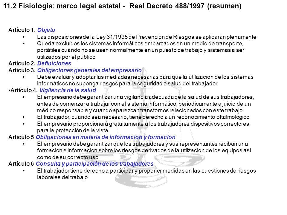 11.2 Fisiología: marco legal estatal - Real Decreto 488/1997 (resumen)