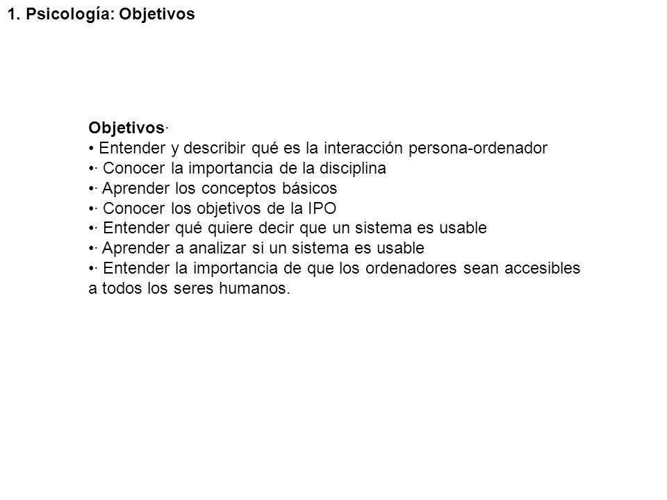 1. Psicología: Objetivos