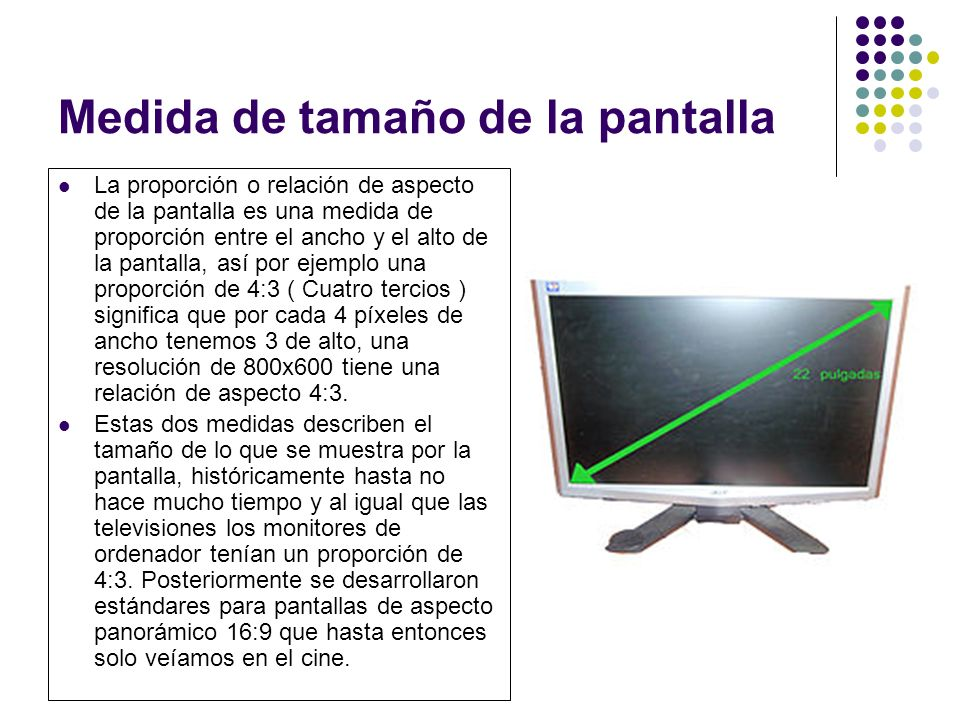 Medida de tamaño de la pantalla