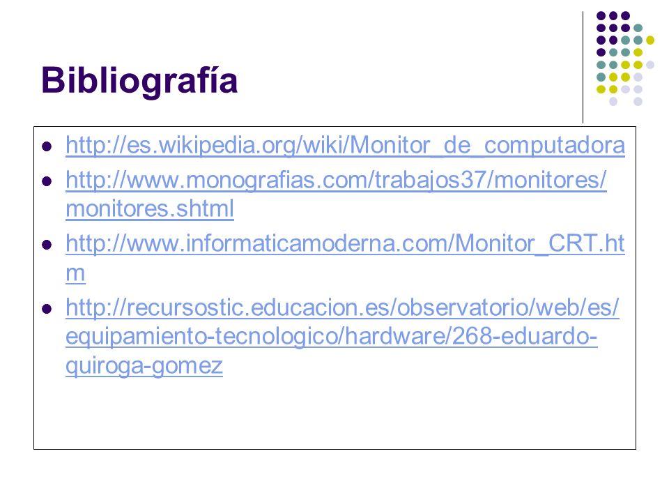 Bibliografía http://es.wikipedia.org/wiki/Monitor_de_computadora