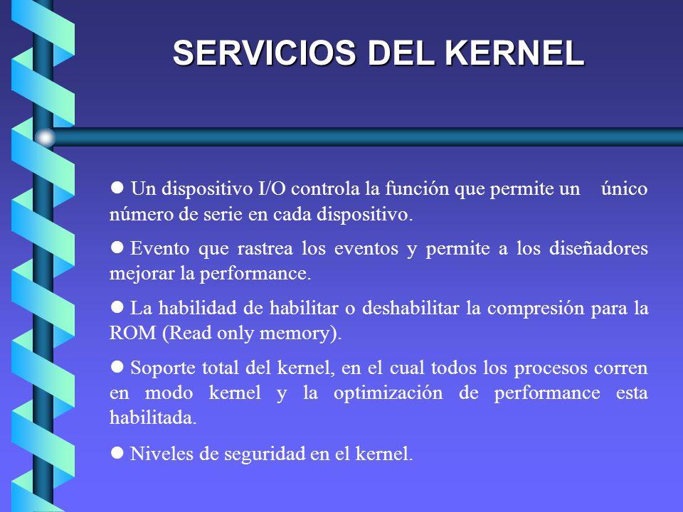 SERVICIOS DEL KERNEL Un dispositivo I/O controla la función que permite un único número de serie en cada dispositivo.