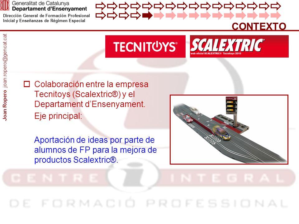CONTEXTO Joan Ropero joan.ropero@gencat.cat. Colaboración entre la empresa Tecnitoys (Scalextric®) y el Departament d'Ensenyament.
