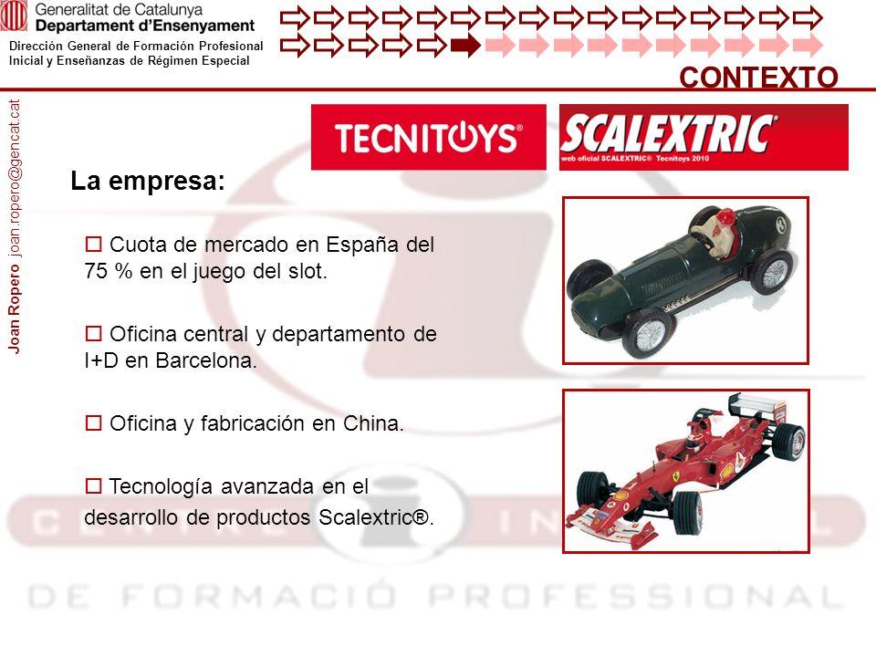 CONTEXTO La empresa: Joan Ropero joan.ropero@gencat.cat. Cuota de mercado en España del 75 % en el juego del slot.