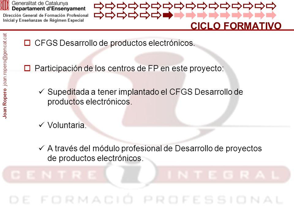 CICLO FORMATIVO CFGS Desarrollo de productos electrónicos.