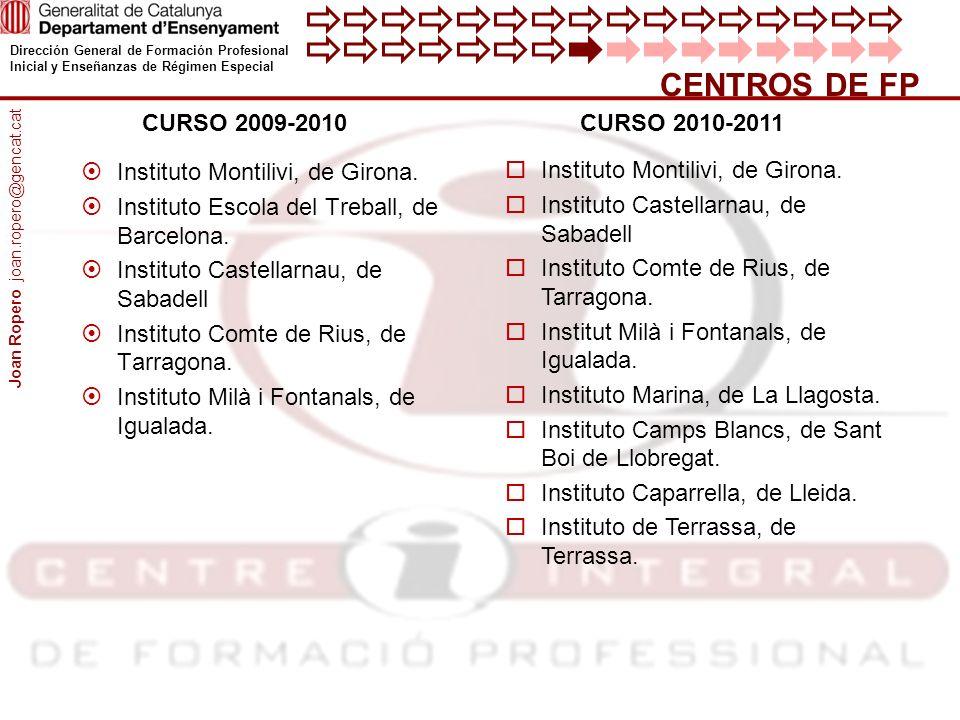 CENTROS DE FP CURSO 2009-2010 CURSO 2010-2011