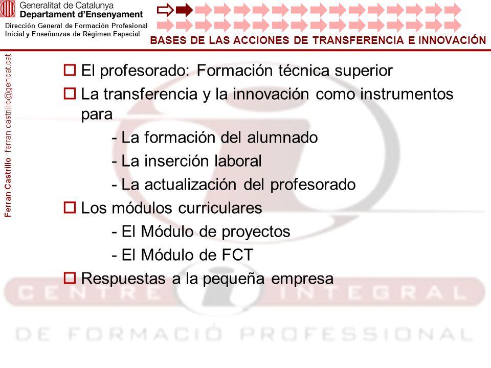El profesorado: Formación técnica superior