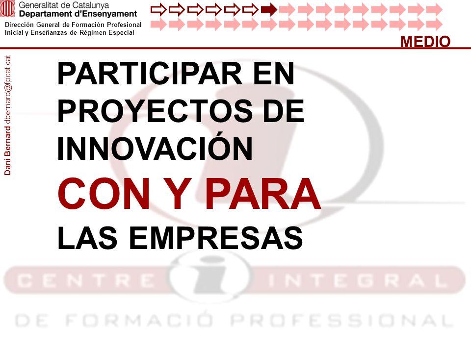 CON Y PARA PARTICIPAR EN PROYECTOS DE INNOVACIÓN LAS EMPRESAS MEDIO