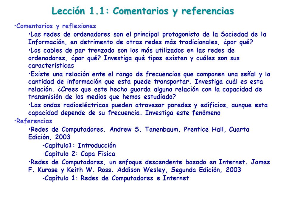 Lección 1.1: Comentarios y referencias