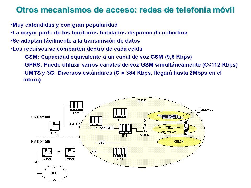Otros mecanismos de acceso: redes de telefonía móvil