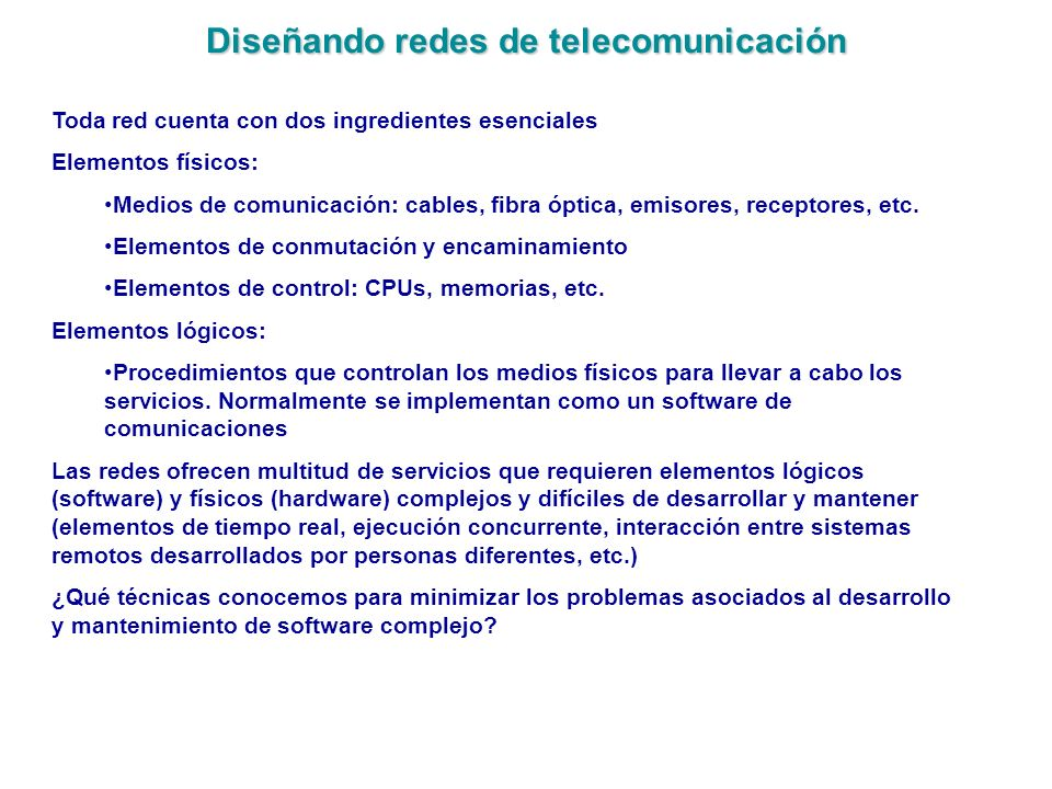 Diseñando redes de telecomunicación