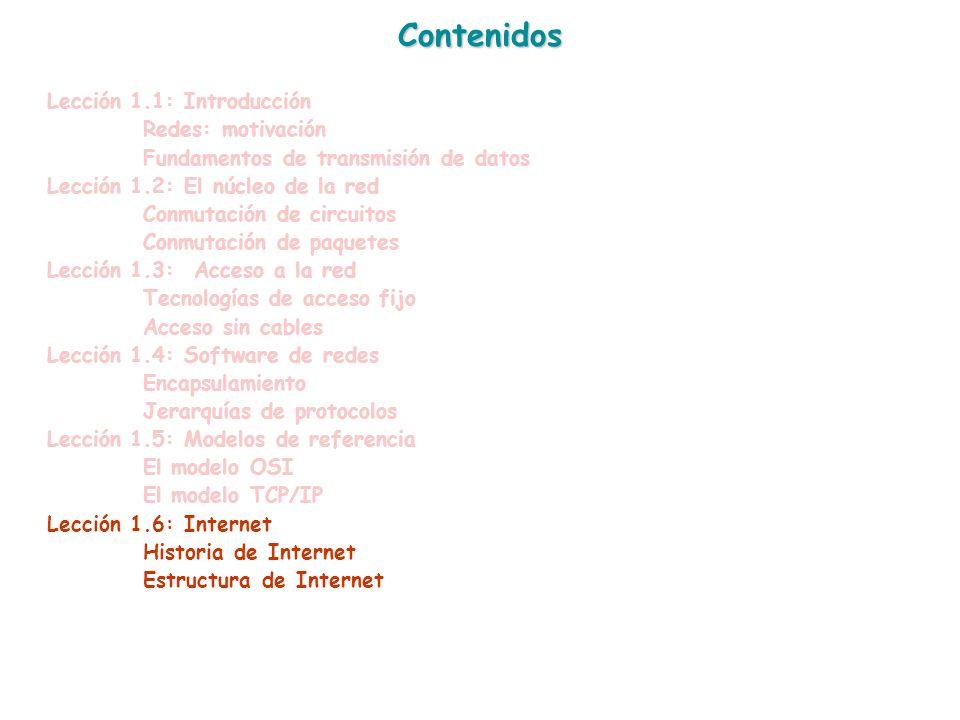 Contenidos Lección 1.1: Introducción Redes: motivación