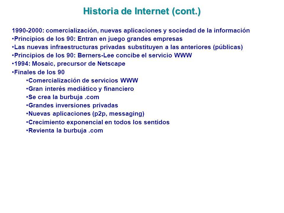 Historia de Internet (cont.)