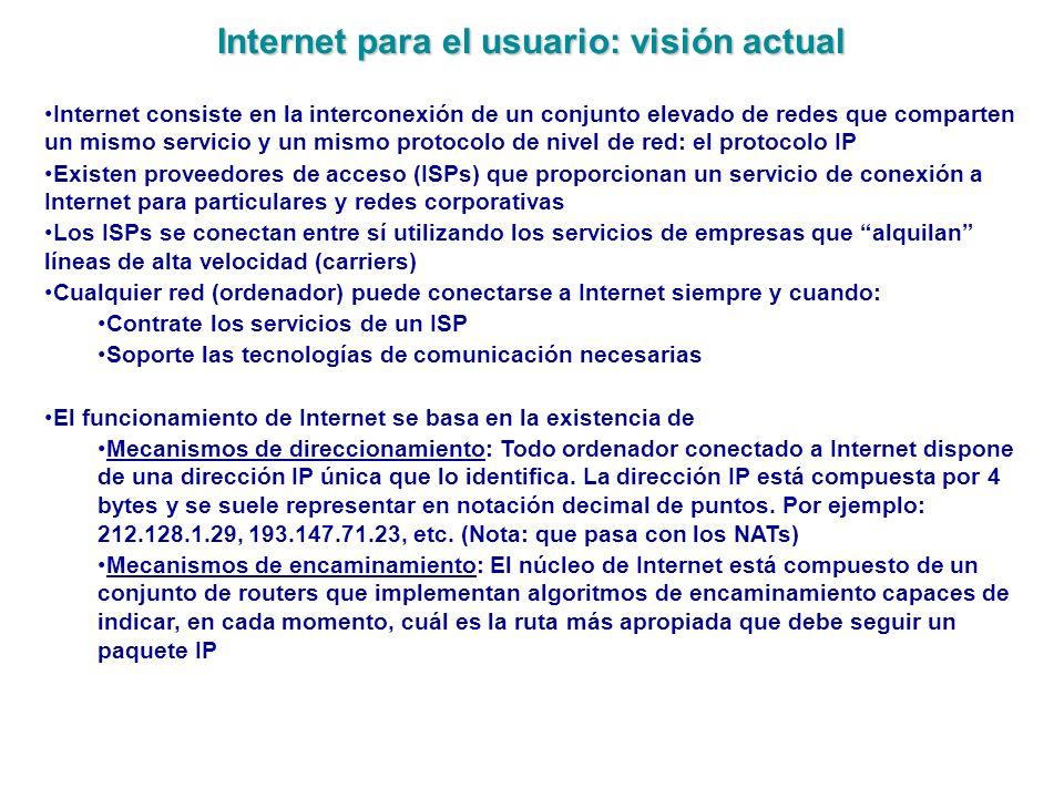 Internet para el usuario: visión actual