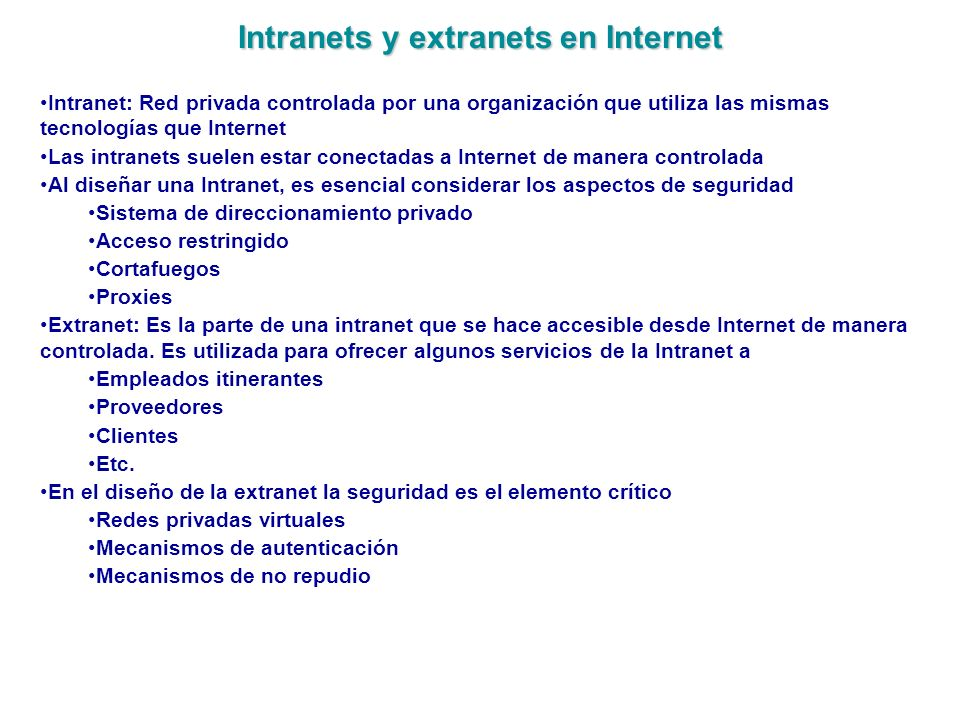 Intranets y extranets en Internet