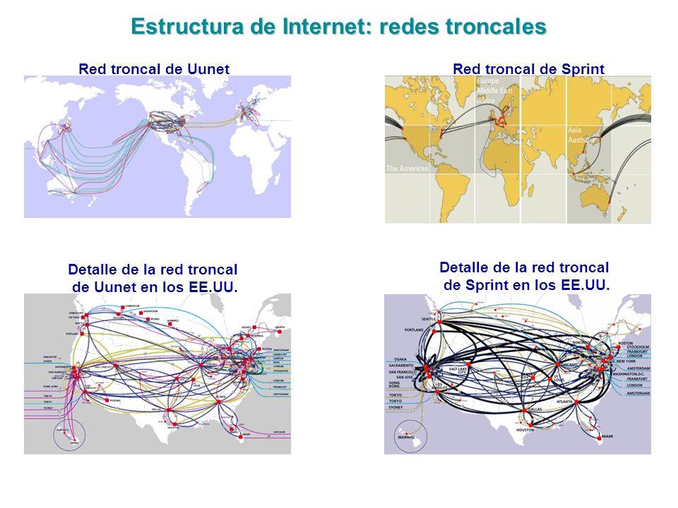 Estructura de Internet: redes troncales
