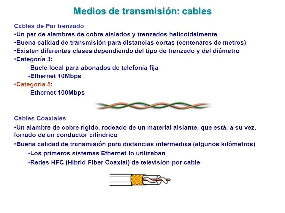 Medios de transmisión: cables