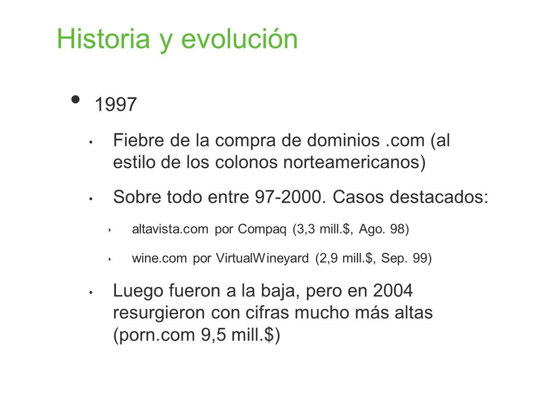 Historia y evolución 1997. Fiebre de la compra de dominios .com (al estilo de los colonos norteamericanos)