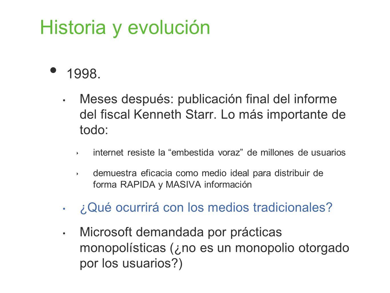 Historia y evolución 1998. Meses después: publicación final del informe del fiscal Kenneth Starr. Lo más importante de todo: