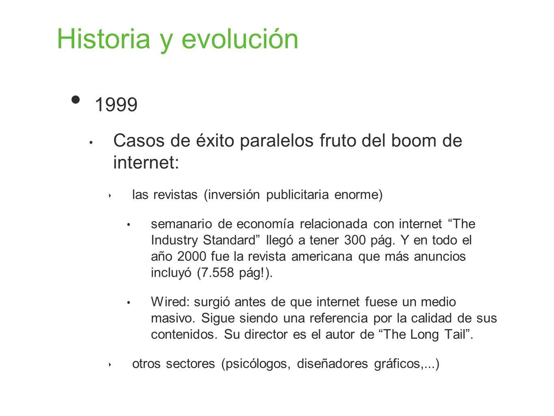 Historia y evolución 1999. Casos de éxito paralelos fruto del boom de internet: las revistas (inversión publicitaria enorme)