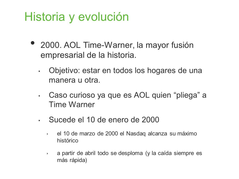Historia y evolución 2000. AOL Time-Warner, la mayor fusión empresarial de la historia. Objetivo: estar en todos los hogares de una manera u otra.