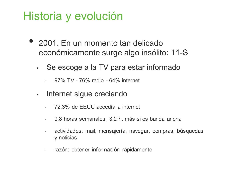 Historia y evolución 2001. En un momento tan delicado económicamente surge algo insólito: 11-S. Se escoge a la TV para estar informado.