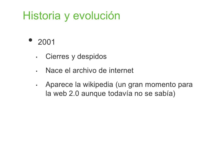 Historia y evolución 2001 Cierres y despidos
