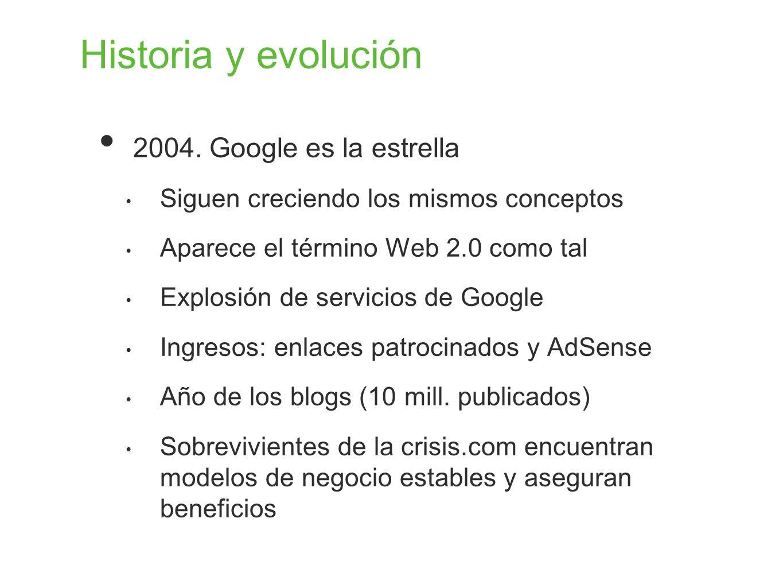 Historia y evolución 2004. Google es la estrella
