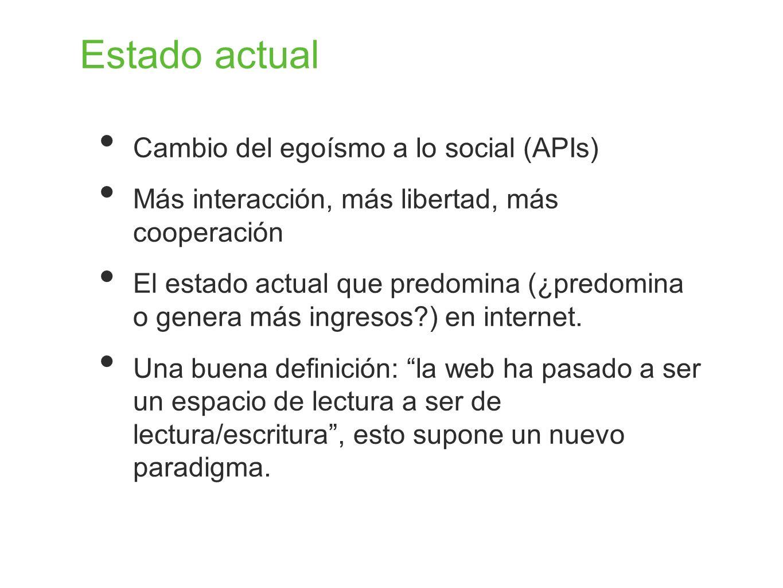 Estado actual Cambio del egoísmo a lo social (APIs)