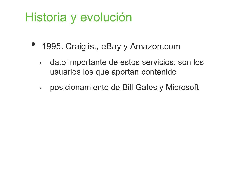 Historia y evolución 1995. Craiglist, eBay y Amazon.com