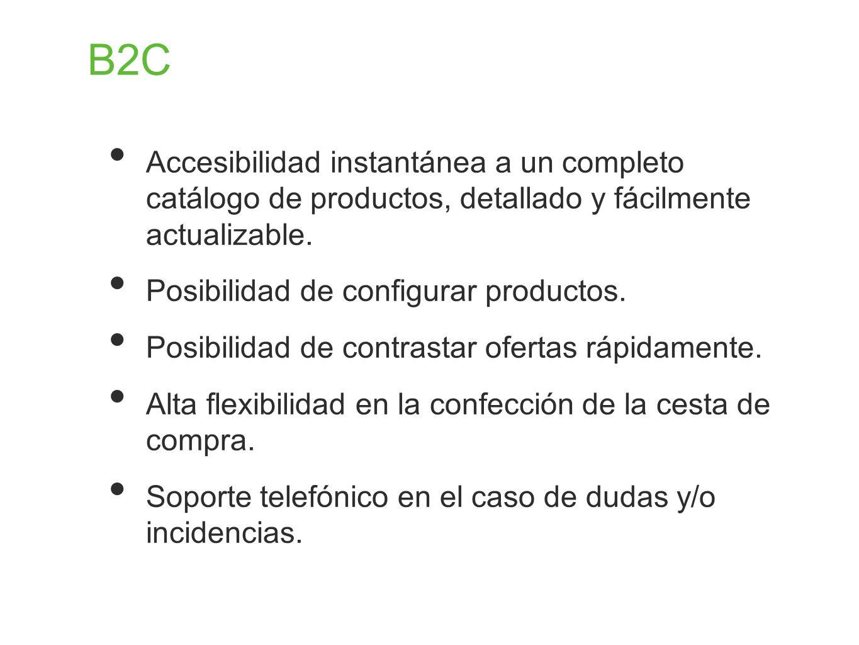 B2C Accesibilidad instantánea a un completo catálogo de productos, detallado y fácilmente actualizable.