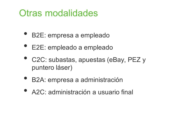 Otras modalidades B2E: empresa a empleado E2E: empleado a empleado