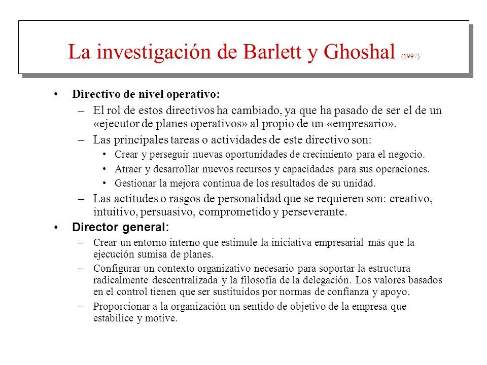 La investigación de Barlett y Ghoshal (1997)