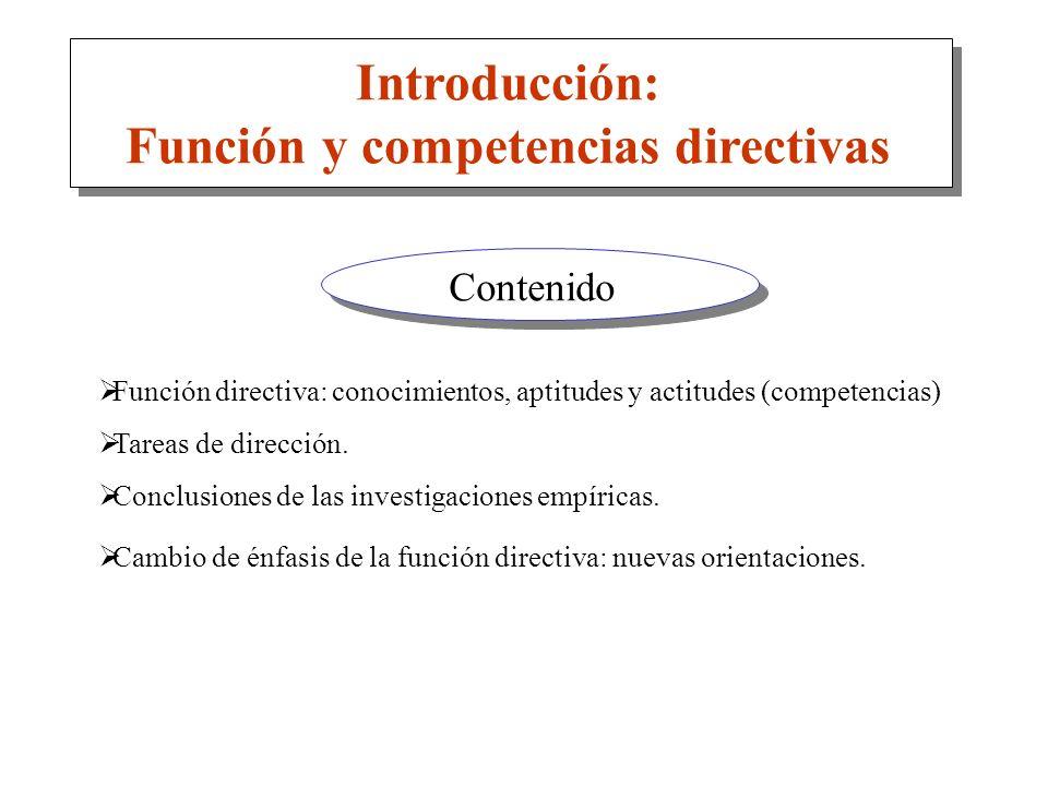 Función y competencias directivas