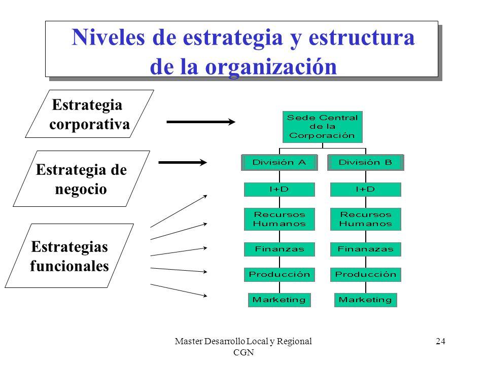 Niveles de estrategia y estructura de la organización