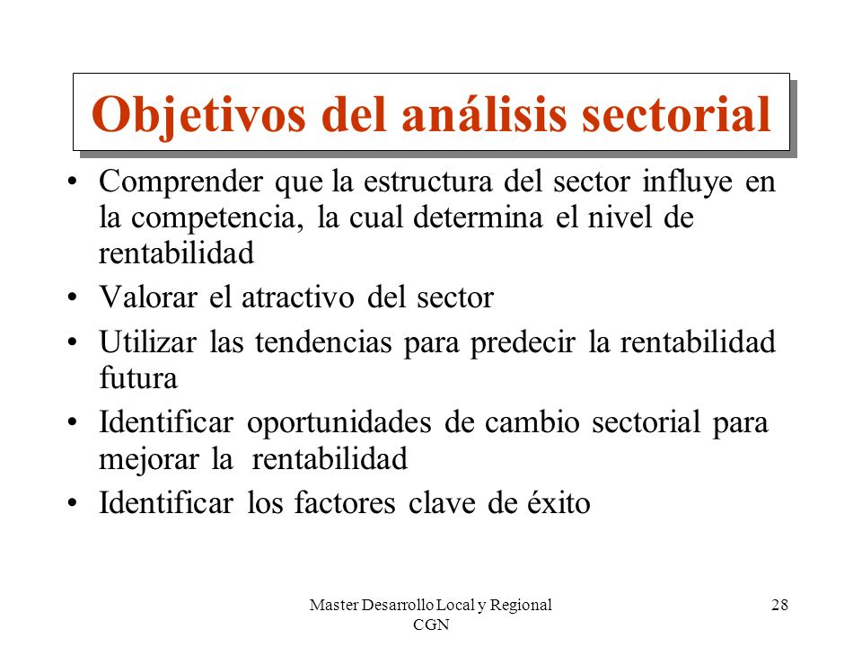 Objetivos del análisis sectorial