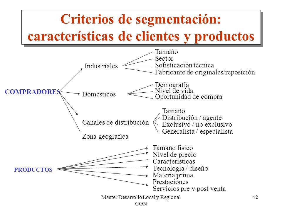 Criterios de segmentación: características de clientes y productos