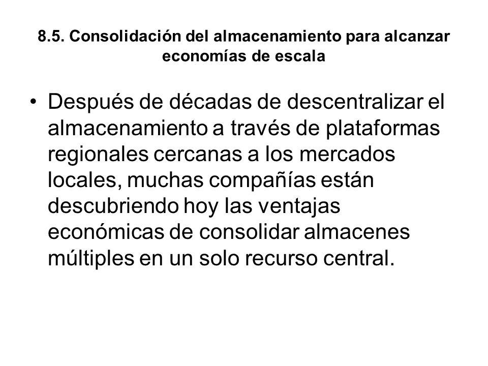 8.5. Consolidación del almacenamiento para alcanzar economías de escala