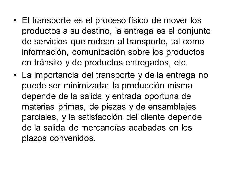 El transporte es el proceso físico de mover los productos a su destino, la entrega es el conjunto de servicios que rodean al transporte, tal como información, comunicación sobre los productos en tránsito y de productos entregados, etc.