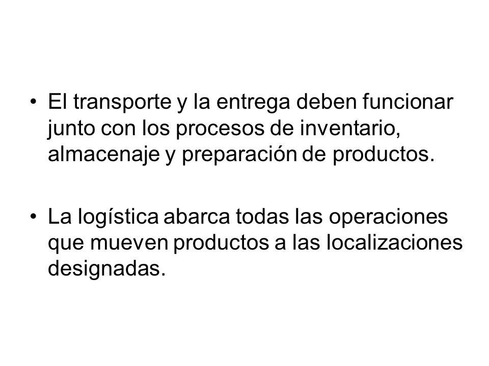 El transporte y la entrega deben funcionar junto con los procesos de inventario, almacenaje y preparación de productos.