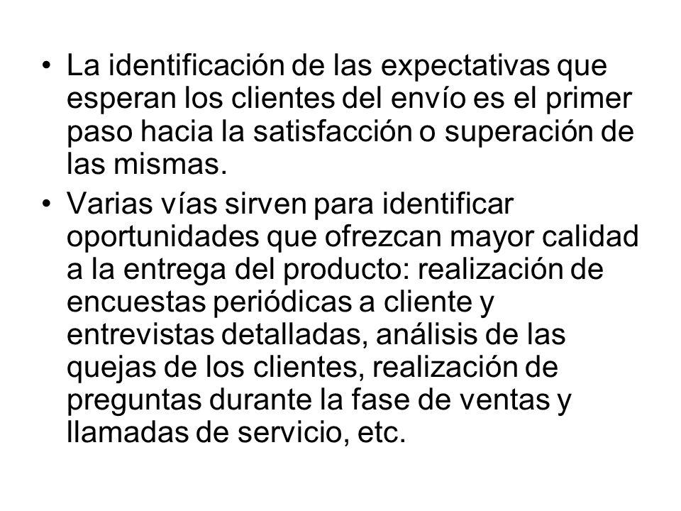 La identificación de las expectativas que esperan los clientes del envío es el primer paso hacia la satisfacción o superación de las mismas.