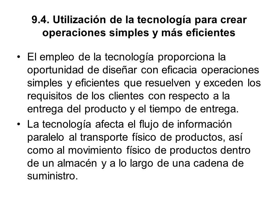 9.4. Utilización de la tecnología para crear operaciones simples y más eficientes