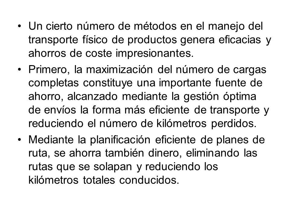 Un cierto número de métodos en el manejo del transporte físico de productos genera eficacias y ahorros de coste impresionantes.