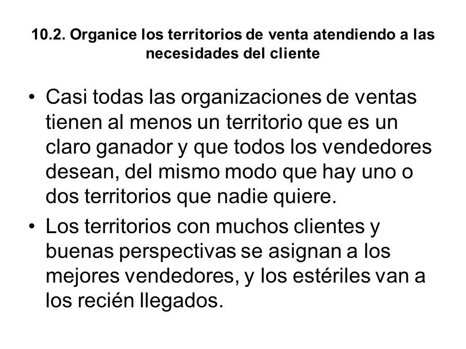 10.2. Organice los territorios de venta atendiendo a las necesidades del cliente
