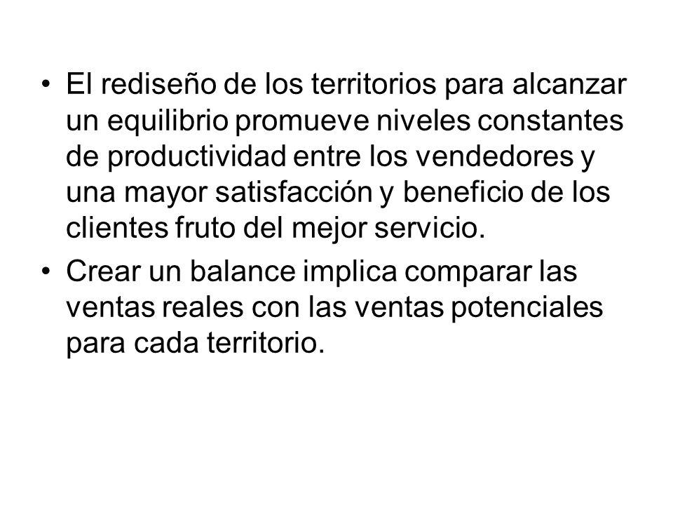 El rediseño de los territorios para alcanzar un equilibrio promueve niveles constantes de productividad entre los vendedores y una mayor satisfacción y beneficio de los clientes fruto del mejor servicio.