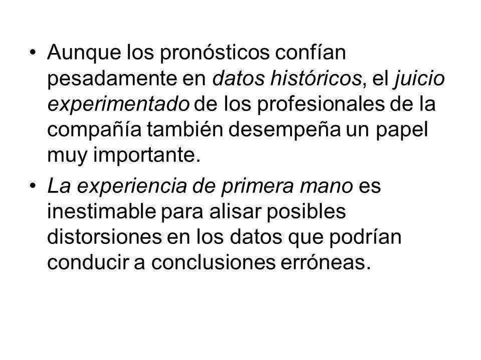 Aunque los pronósticos confían pesadamente en datos históricos, el juicio experimentado de los profesionales de la compañía también desempeña un papel muy importante.