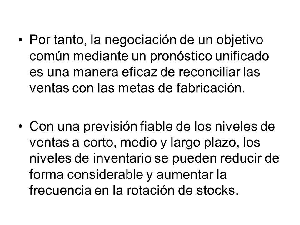 Por tanto, la negociación de un objetivo común mediante un pronóstico unificado es una manera eficaz de reconciliar las ventas con las metas de fabricación.