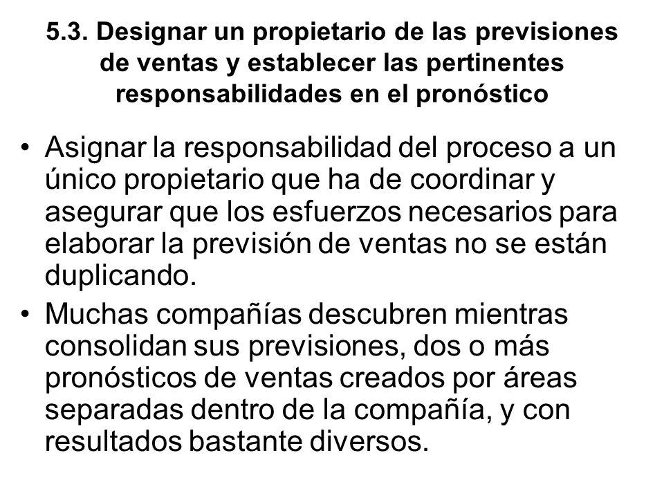 5.3. Designar un propietario de las previsiones de ventas y establecer las pertinentes responsabilidades en el pronóstico